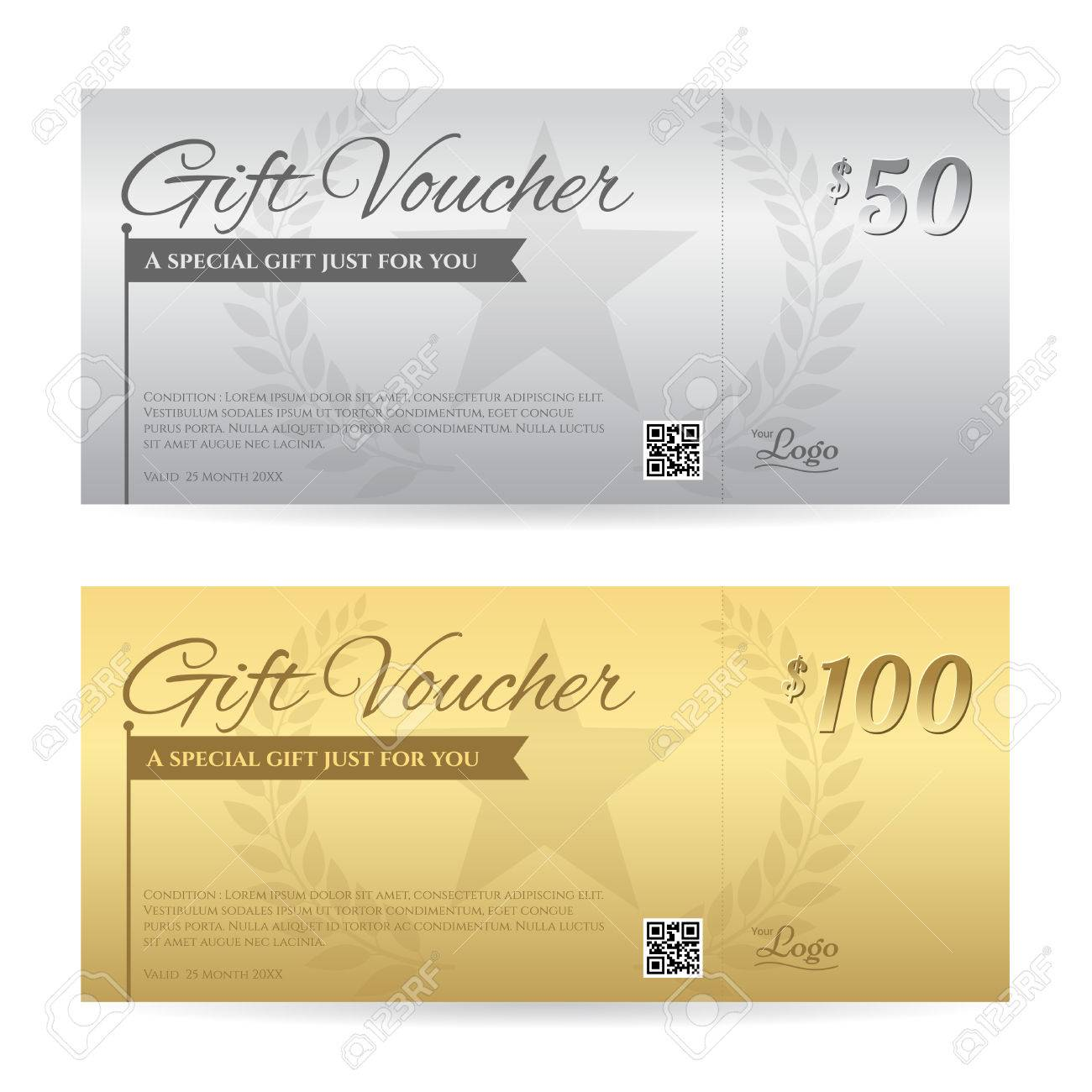 Elegant Gift Voucher Or Gift Card Certificate Template In Gold ...