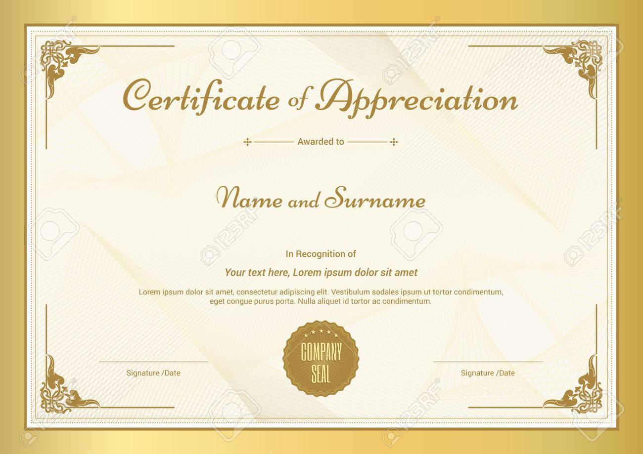 Certificate of appreciation template with vintage gold border certificate of appreciation template with vintage gold border stock vector 62194566 yadclub Image collections