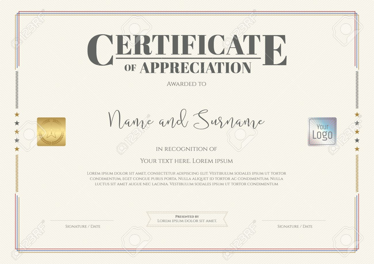 Certificate Of Appreciation Template With Watermark Background ...