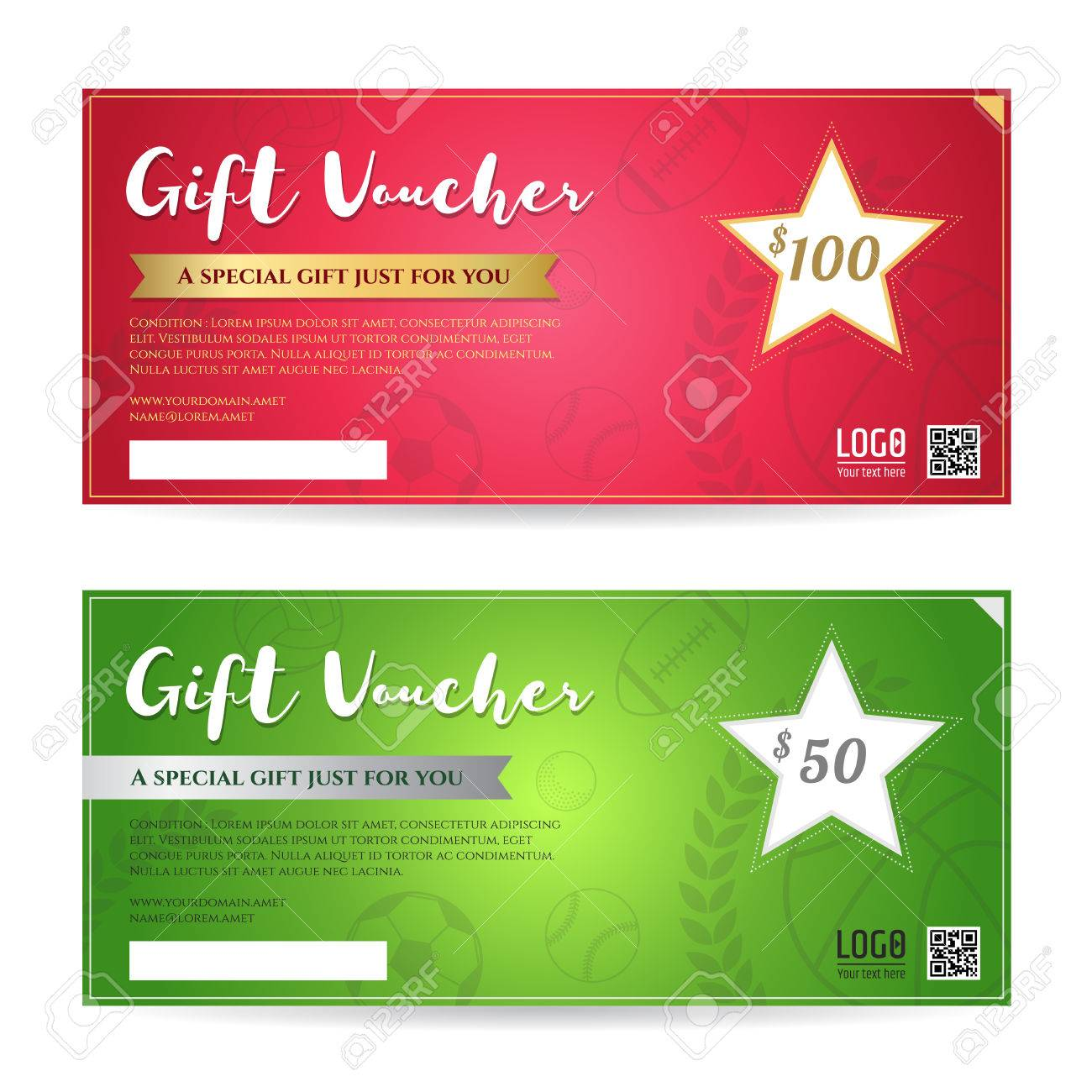 Gift Voucher Or Gift Certificate Template In Red And Green - 100 gift certificate template