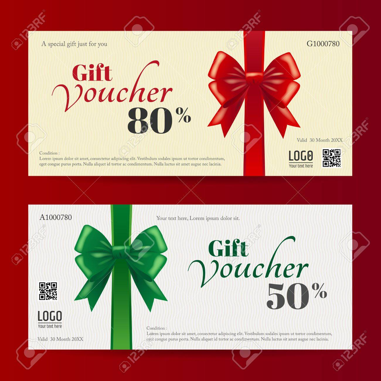 Elegant Christmas Gift Card Or Gift Voucher Template With Shiny ...