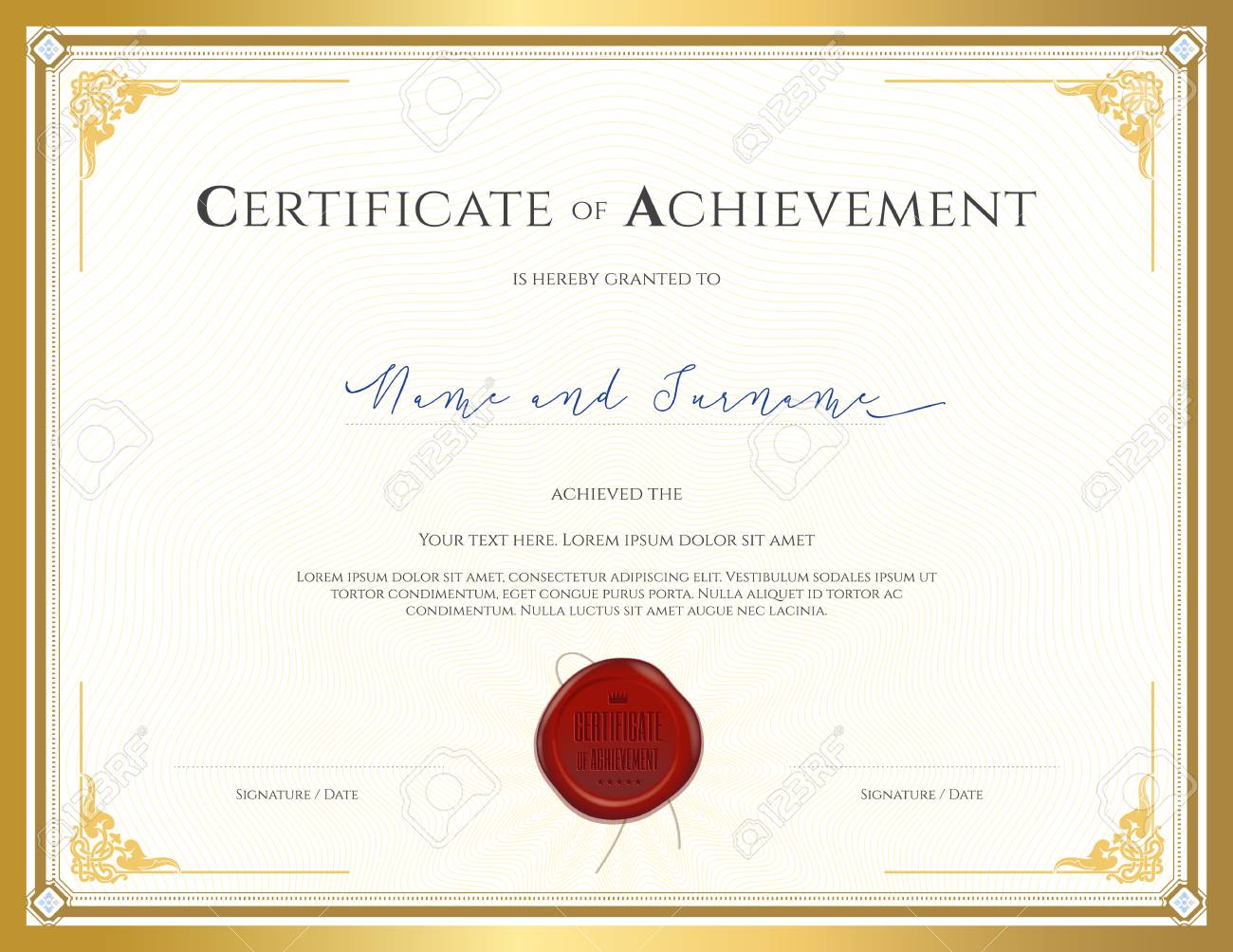 certificate template for achievement appreciation completion or participation with applied thai frame and red