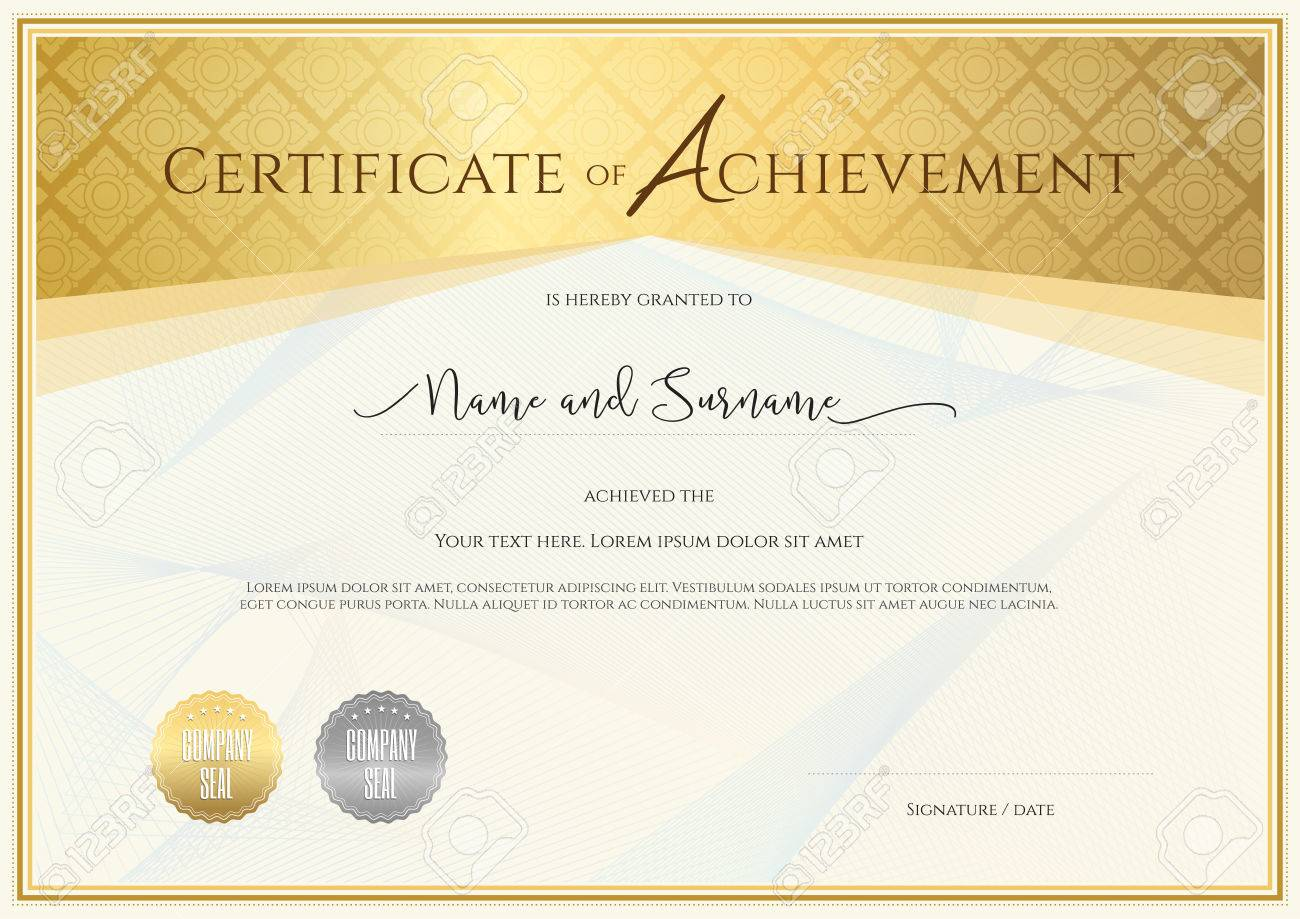 Certificate template for achievement appreciation completion certificate template for achievement appreciation completion or participation with applied thai art line stock alramifo Choice Image