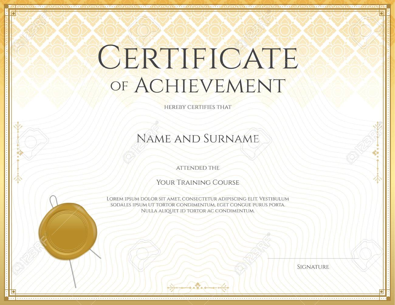 Certificate template for achievement appreciation participation certificate template for achievement appreciation participation or completion in applied thai art line theme yelopaper Image collections