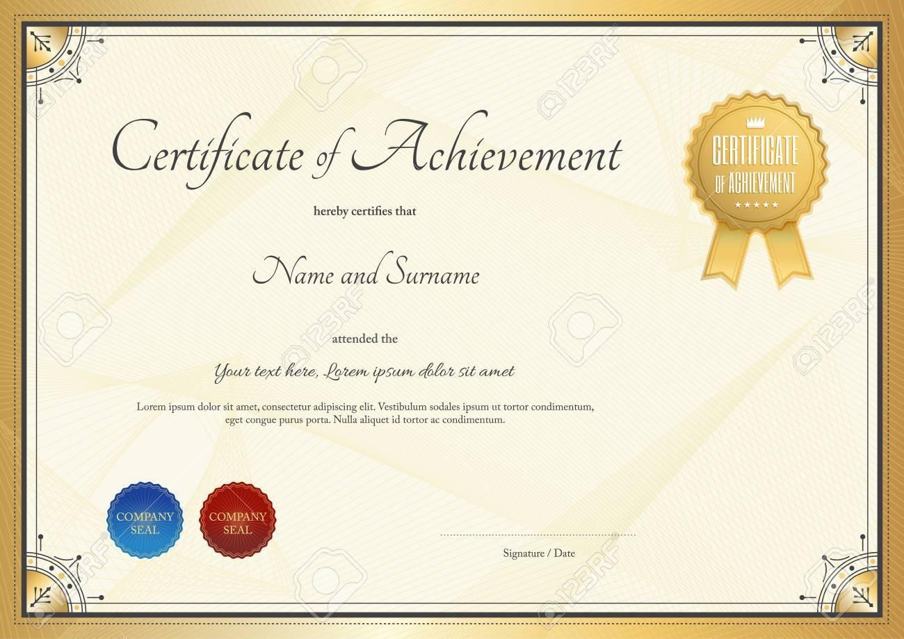Plantilla De Certificado De Logro, Aprecio O La Terminación En Oro ...