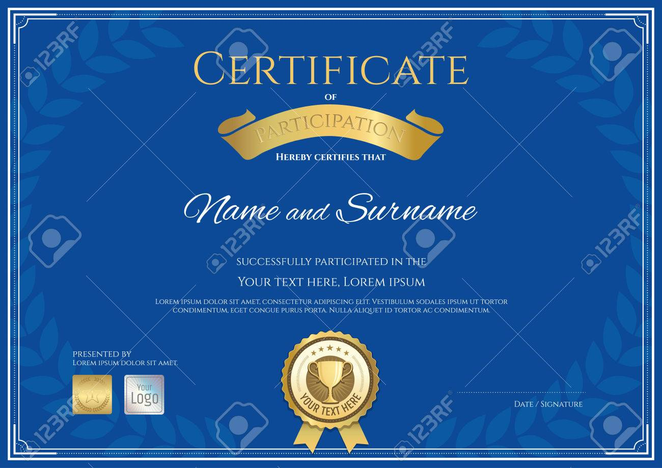 Certificate Of Participation Template In Blue Theme With Award ...