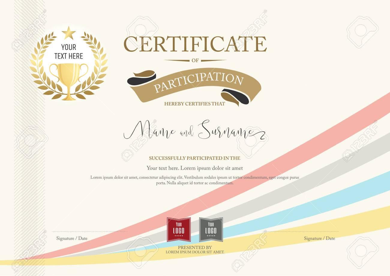 Teilnahmezertifikat Vorlage Mit Goldenen Auszeichnung Lorbeer Und ...