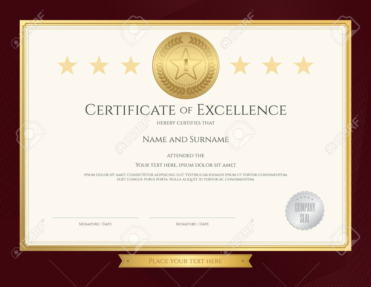 elegant certificate template for excellence achievement