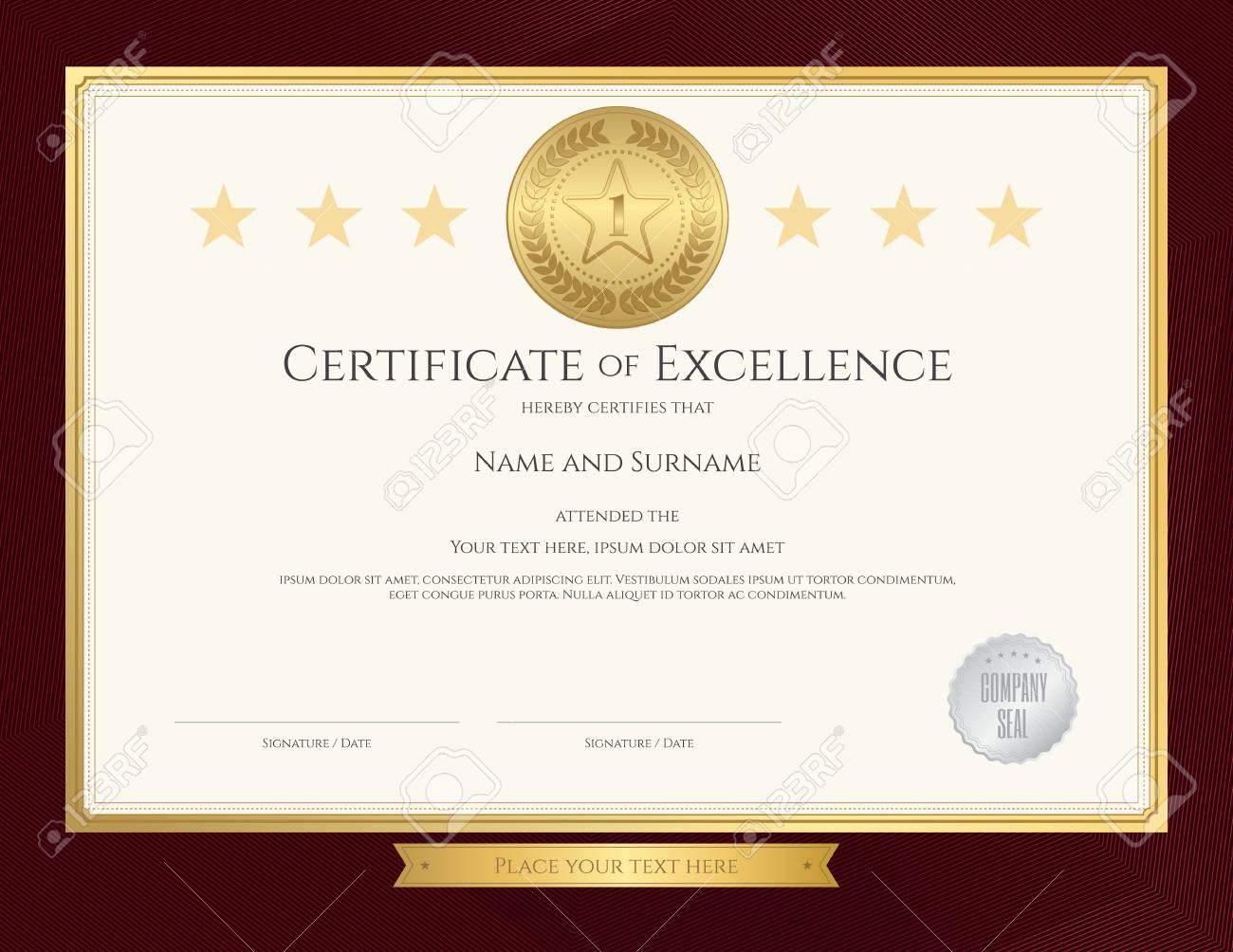 Elegante Zertifikatvorlage Für Die Hervorragende Qualität, Leistung ...