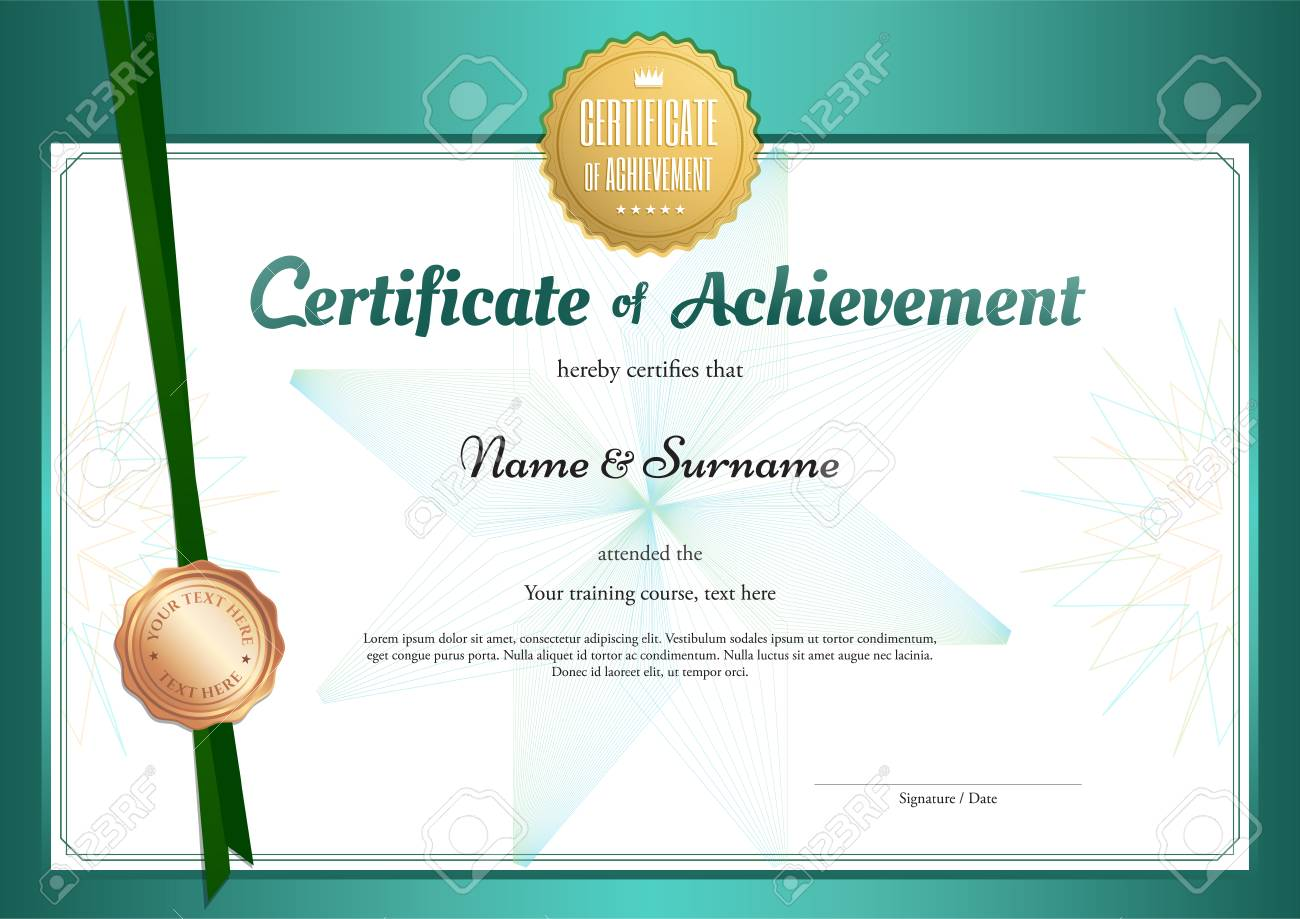 Modern Certificate Of Achievement Template In Environment Theme ...