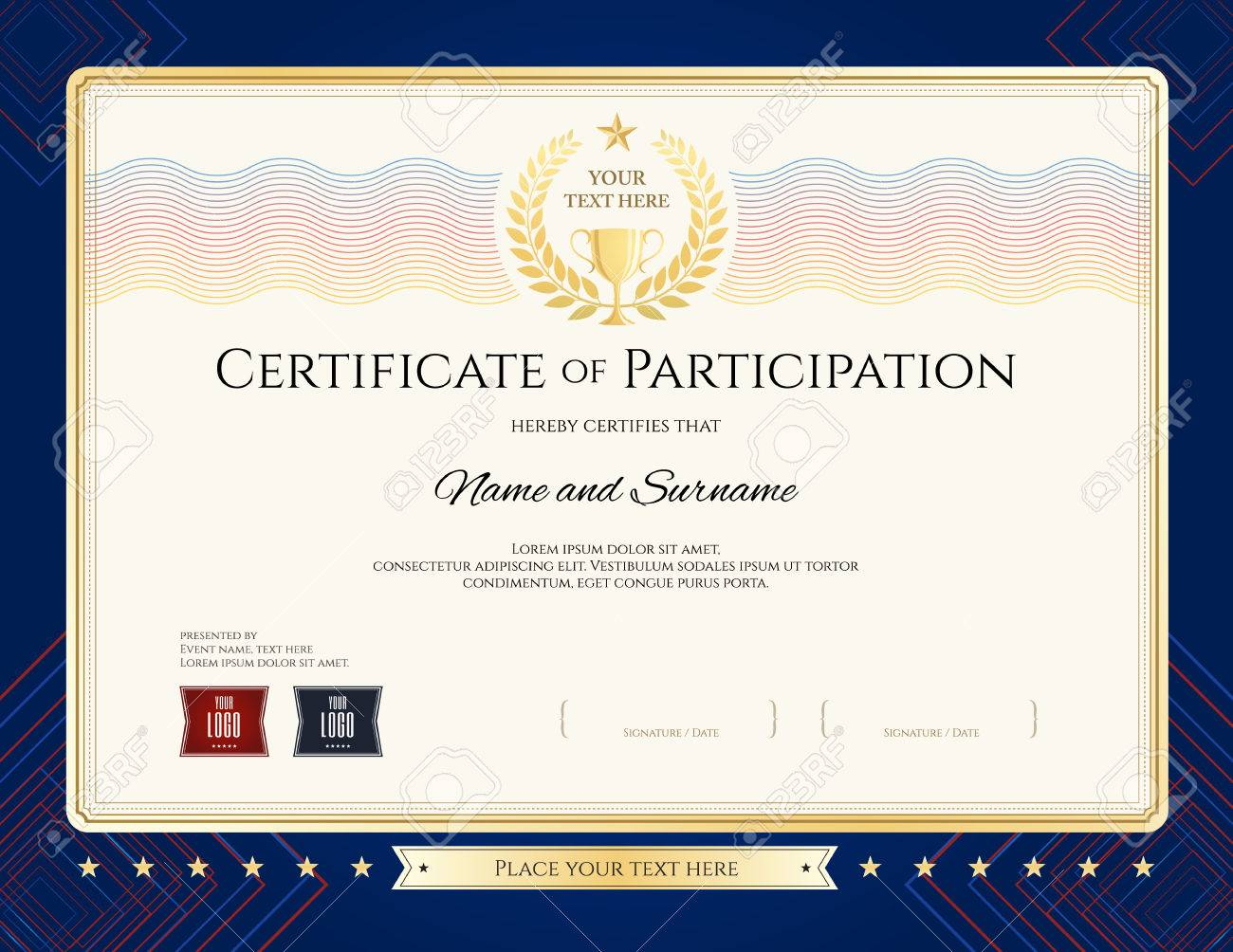 Modern Certificate Of Participation Template With Colorful Wave ...