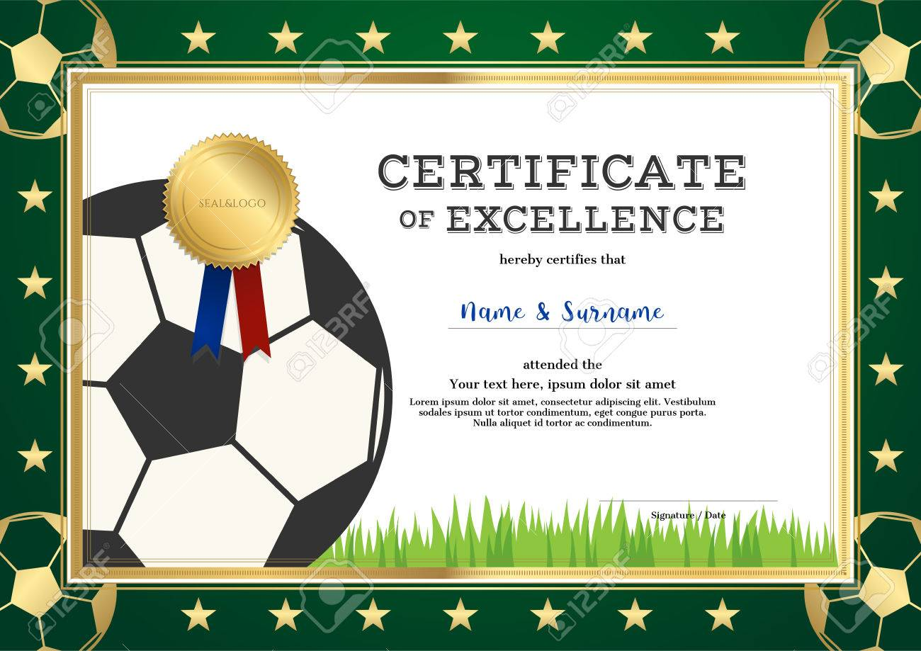Certificate of excellence template in sport theme for football certificate of excellence template in sport theme for football match with green border stock vector 1betcityfo Gallery