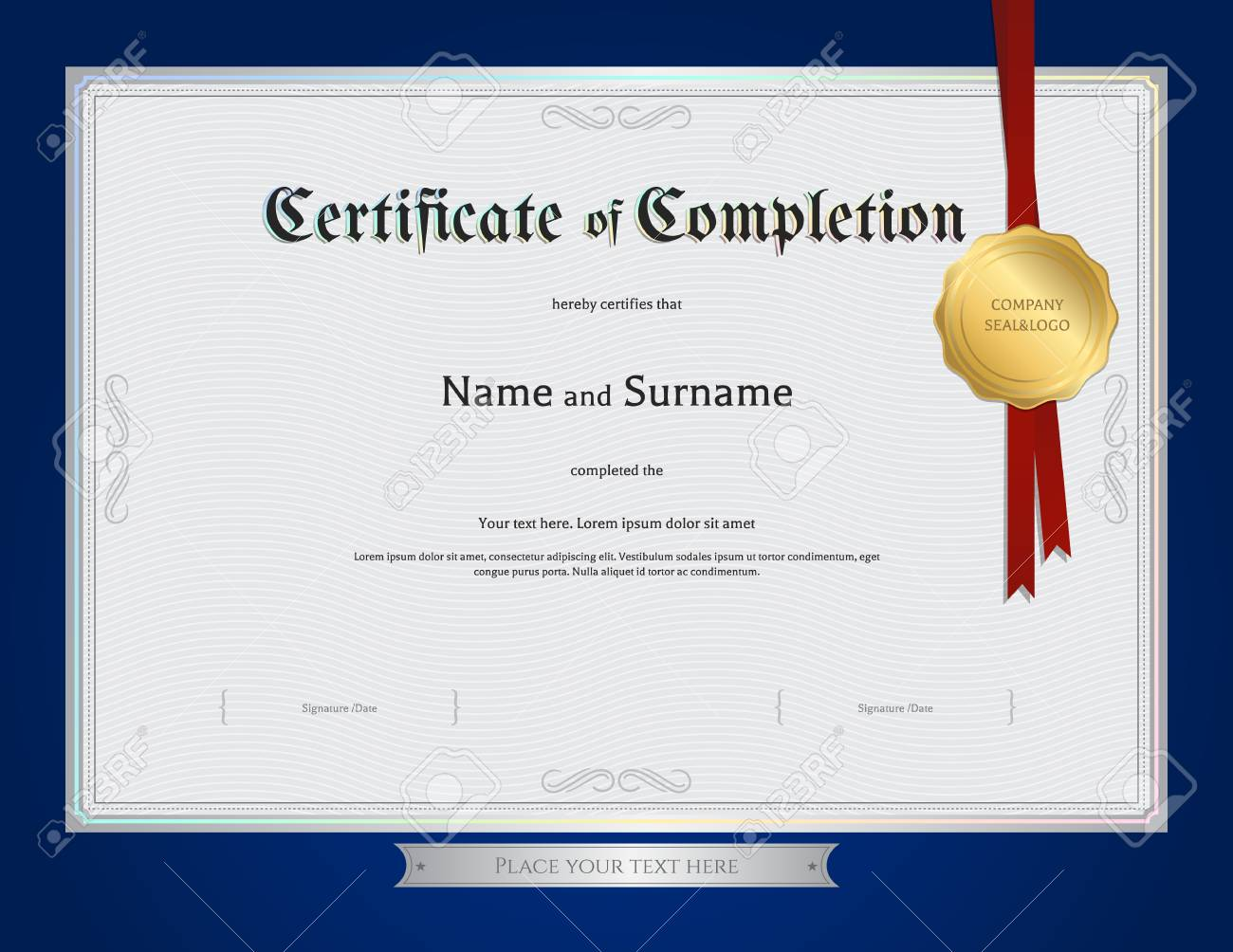 Certificate Of Completion Template With Blue Border Royalty Free ...