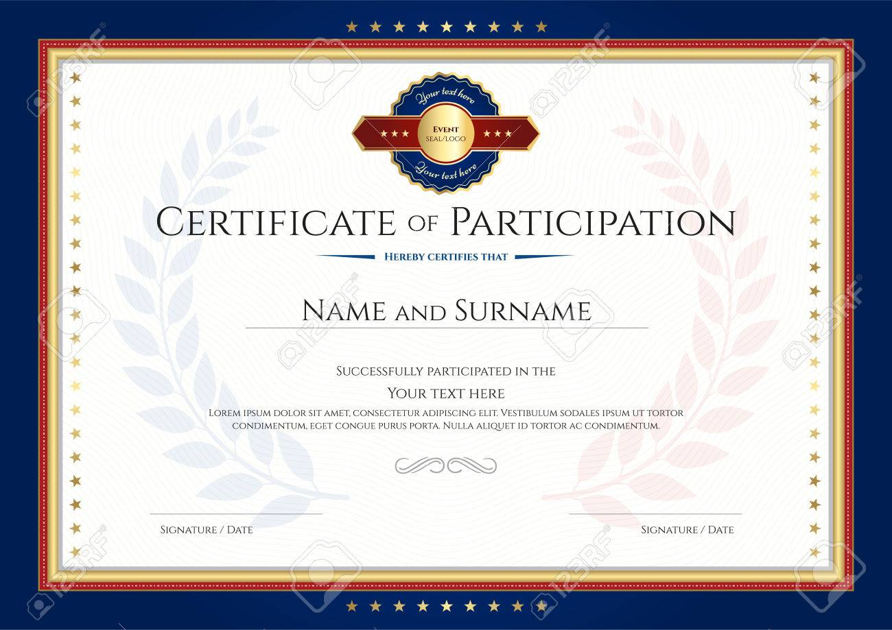 Certificate Of Participation Template With Laurel Background ...