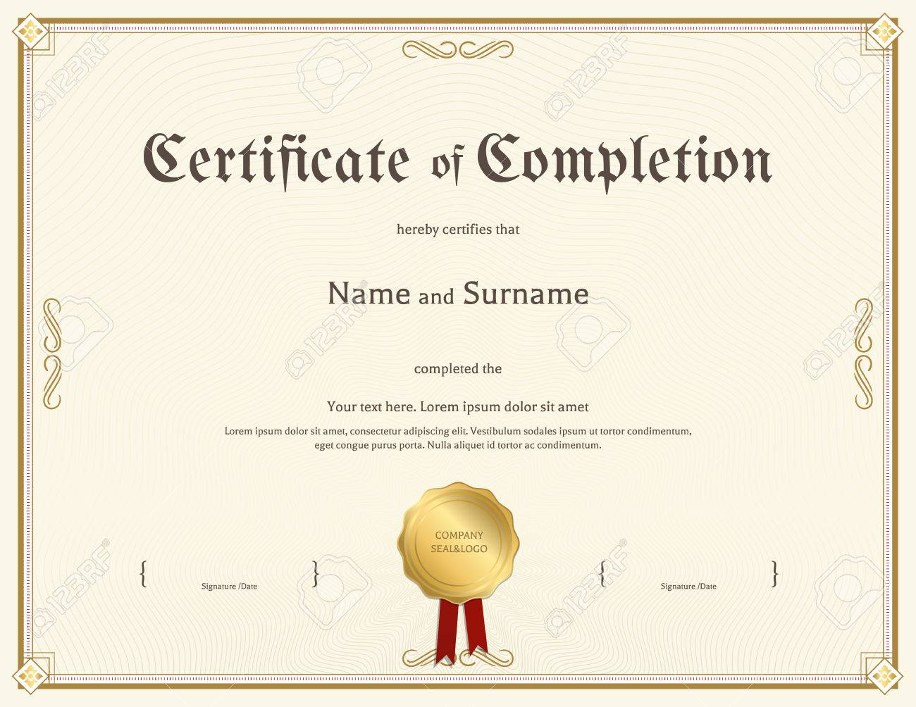 Certificate Of Completion Template In Vintage Theme Royalty Free ...