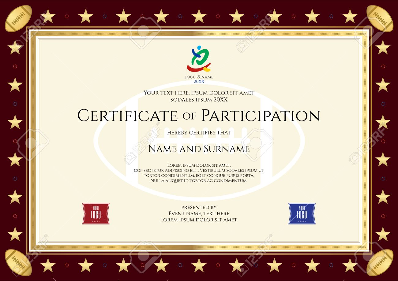 Sport Theme Certification Of Participation Template For Sport Or Rugby  Event Stock Vector   69583449  Certificate Of Participation Template