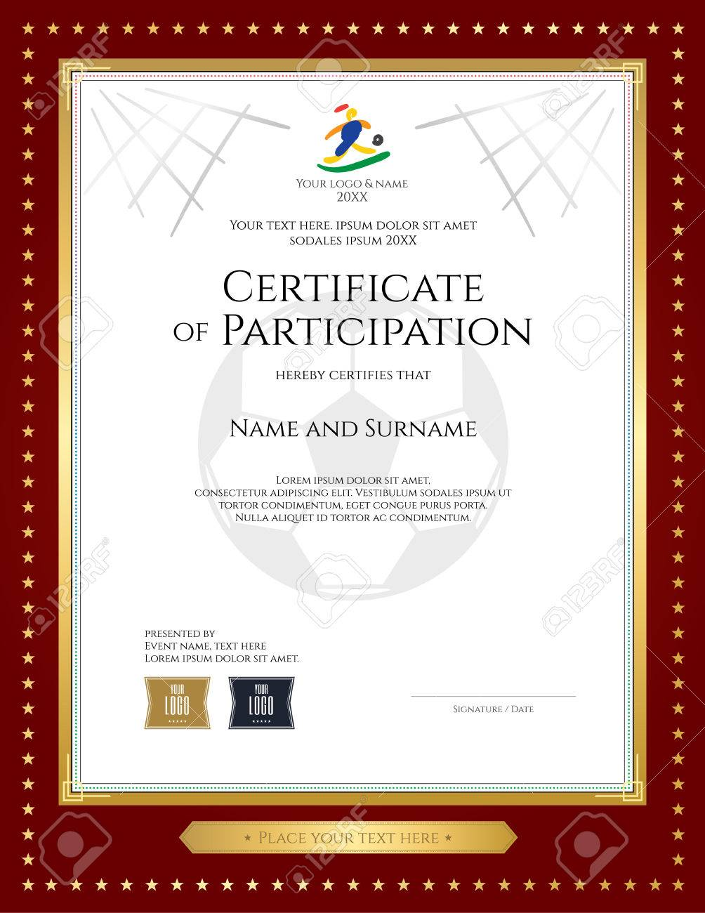 Sport Theme Certificate Of Participation Template For Football ...