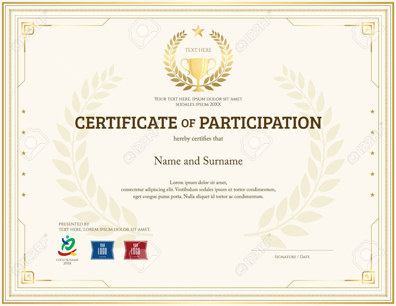Certificate of participation template in gold theme with trophy certificate of participation template in gold theme with trophy and laurel watermark stock vector 69583453 yelopaper Choice Image