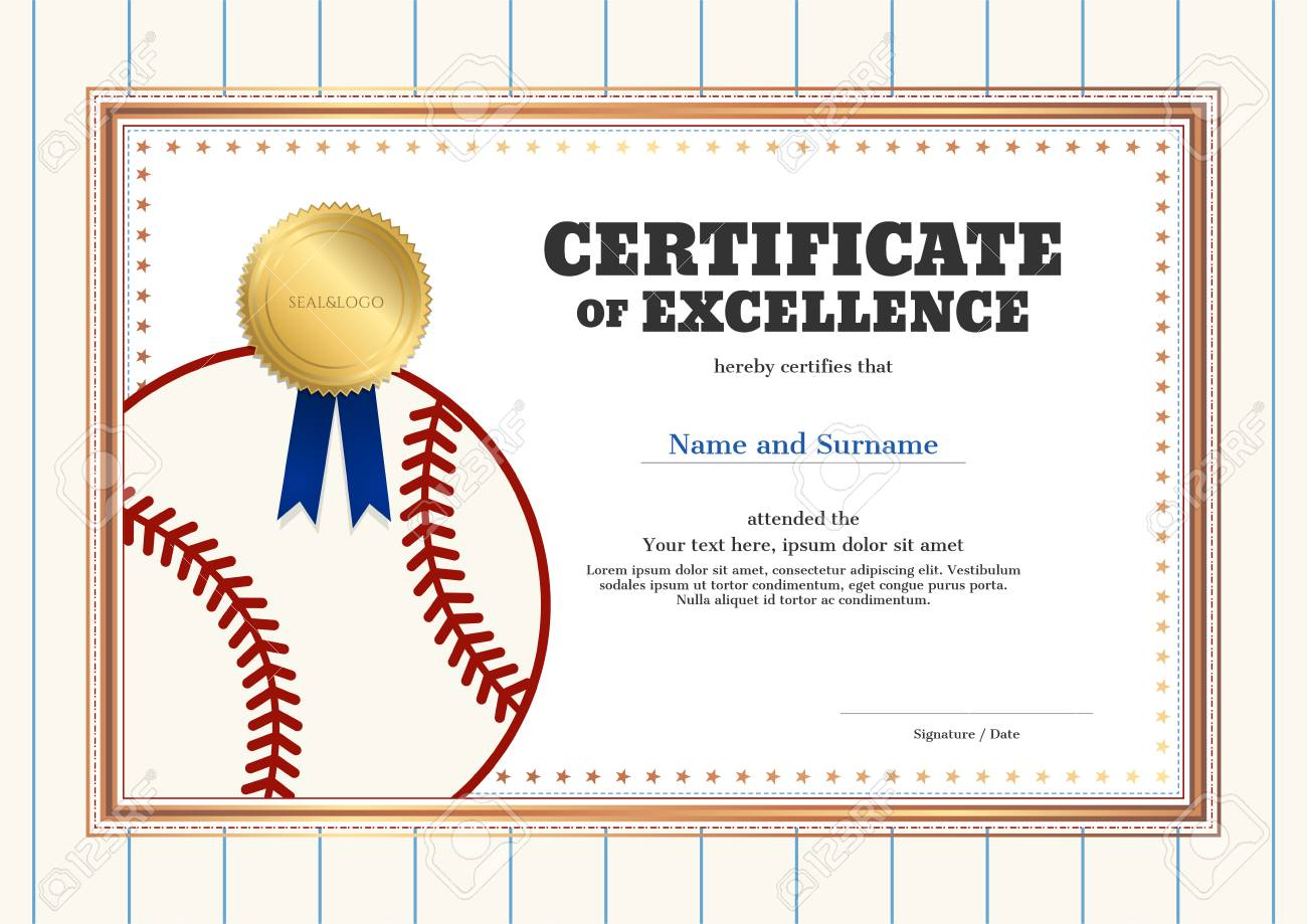 certificate of excellence template in sport theme for baseball event with baseball shirt style border stock