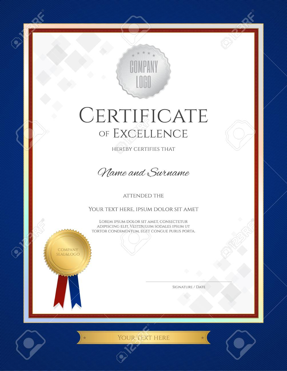 Certificate of excellence template in portrait with blue border certificate of excellence template in portrait with blue border and gold ribbon tag stock vector alramifo Image collections