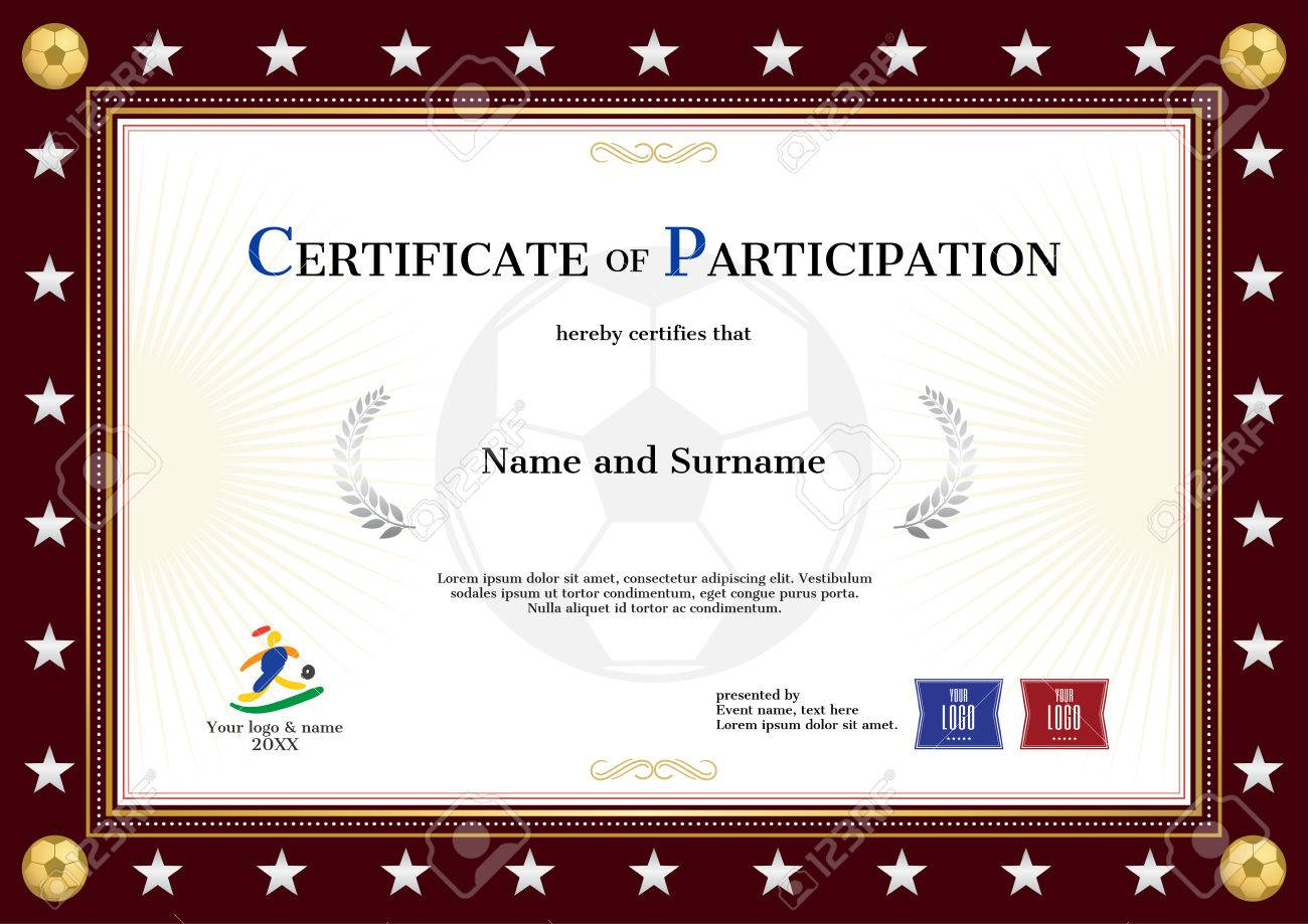 Sport Theme Certificate Of Participation Loan Payment Agreement 69975624  Certificate Of Participation Template In Sport Theme For Football Event  With Red ...