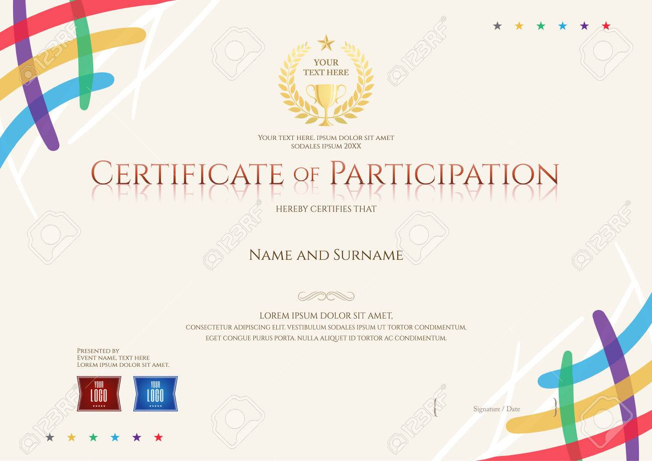 Certificate of participation template with colorful corner and certificate of participation template with colorful corner and trophy stock vector 70008239 xflitez Choice Image