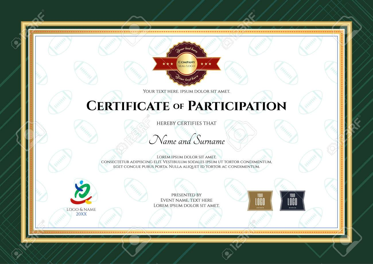 Certificate of participation template in sport theme with rugby certificate of participation template in sport theme with rugby ball shape outline background and modern border yelopaper Images