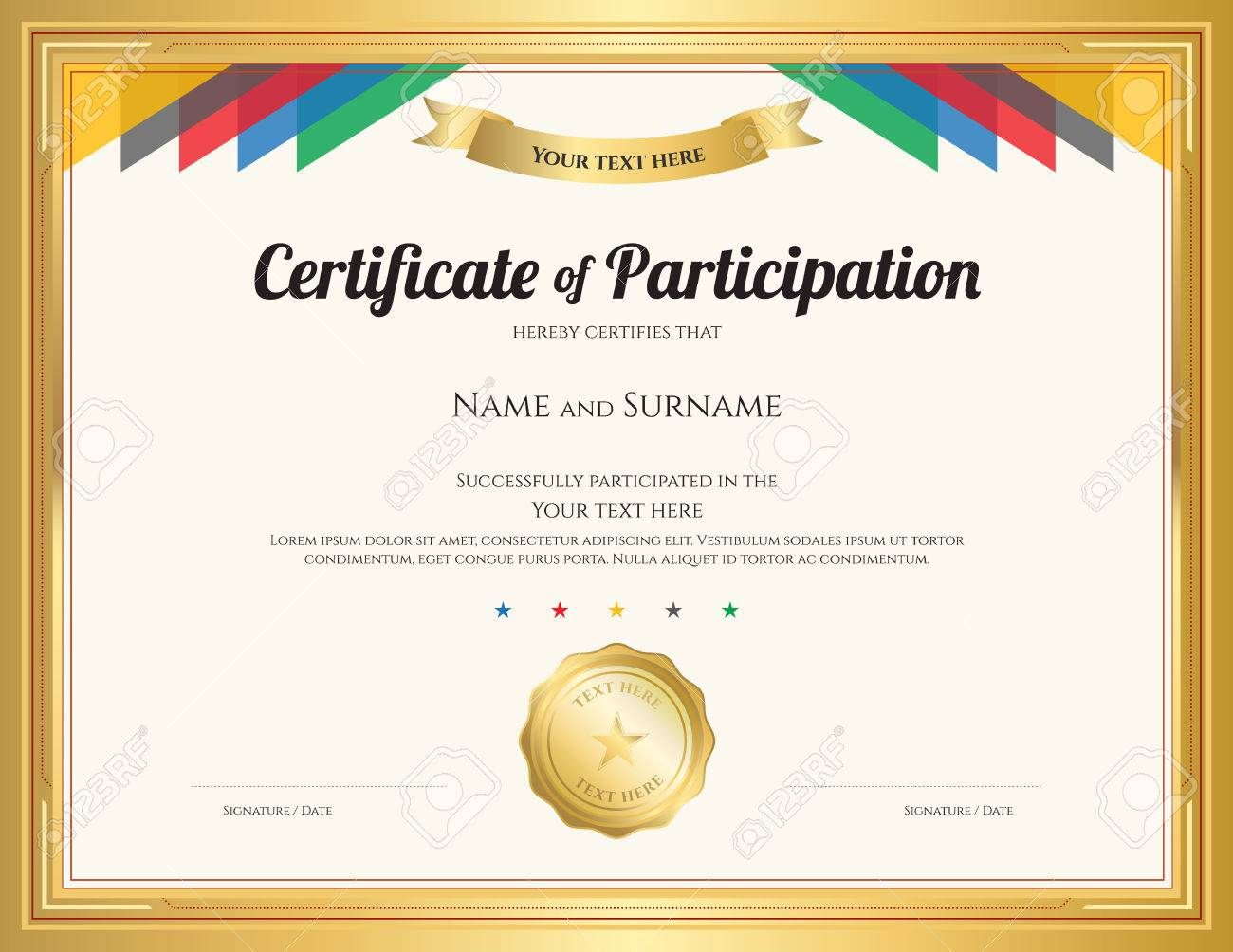 Certificate Of Participation Template With Gold Border And Colorful Stripe  Stock Vector   69975644  Certificate Of Participation Template