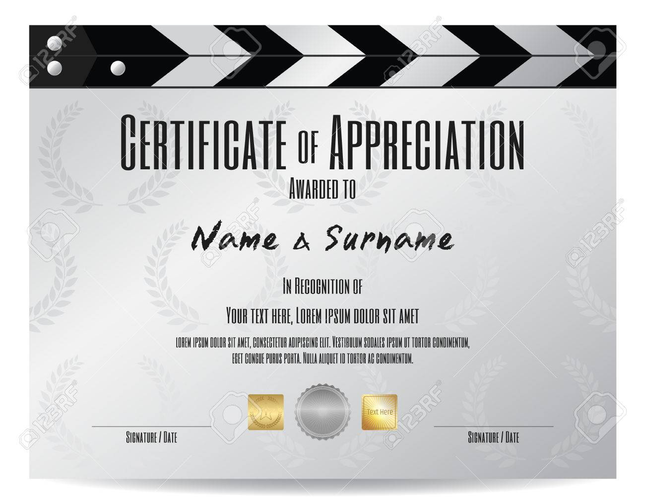 Certificate of appreciation with movie film slate in silver tone certificate of appreciation with movie film slate in silver tone theme stock vector 69934082 yelopaper Choice Image