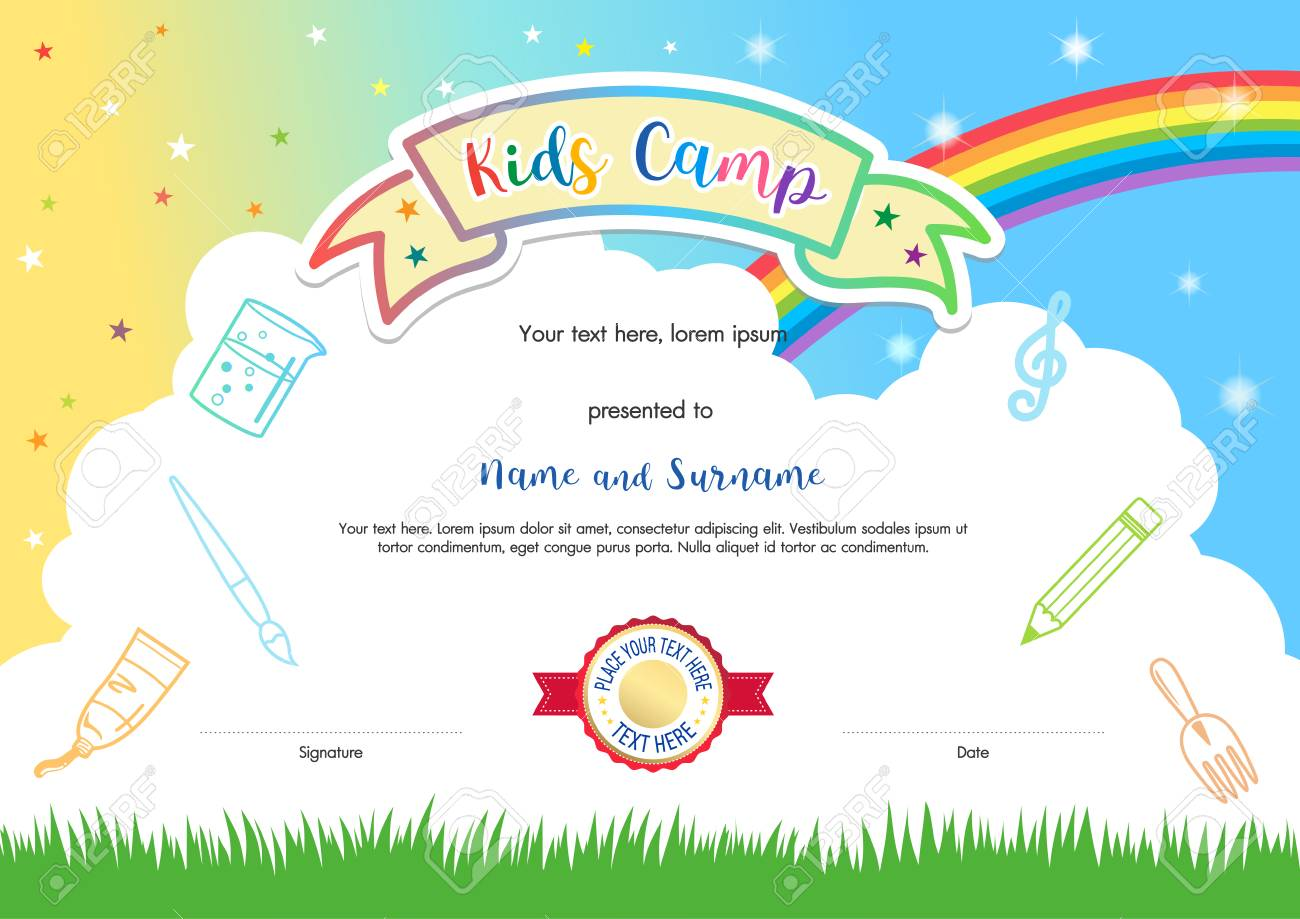 Colorful kids summer camp diploma certificate template in cartoon colorful kids summer camp diploma certificate template in cartoon style with sky rainbow and kids elements alramifo Gallery