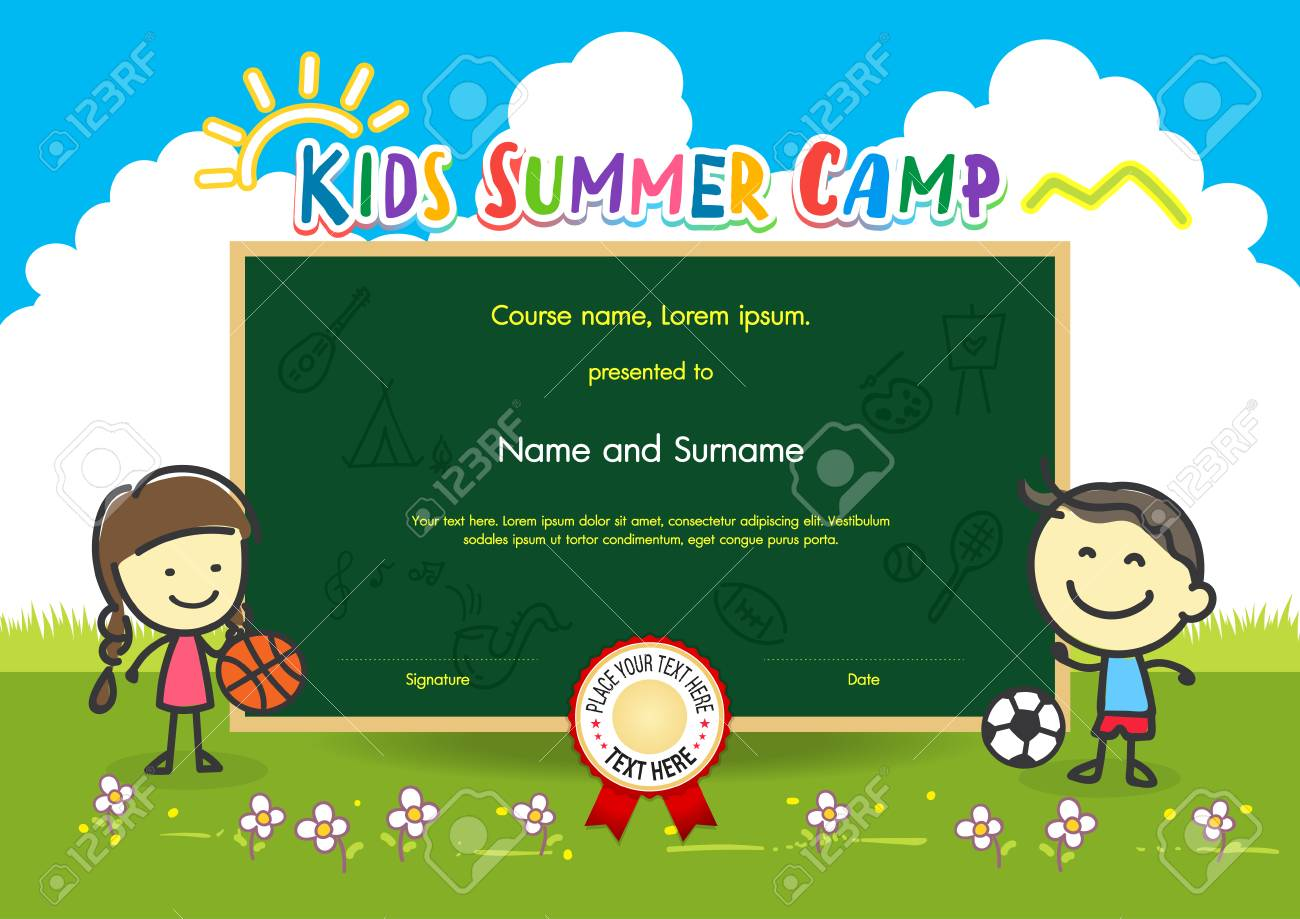 Colorful kids summer camp diploma certificate template in cartoon colorful kids summer camp diploma certificate template in cartoon style with boy girl and sky rainbow yelopaper Image collections