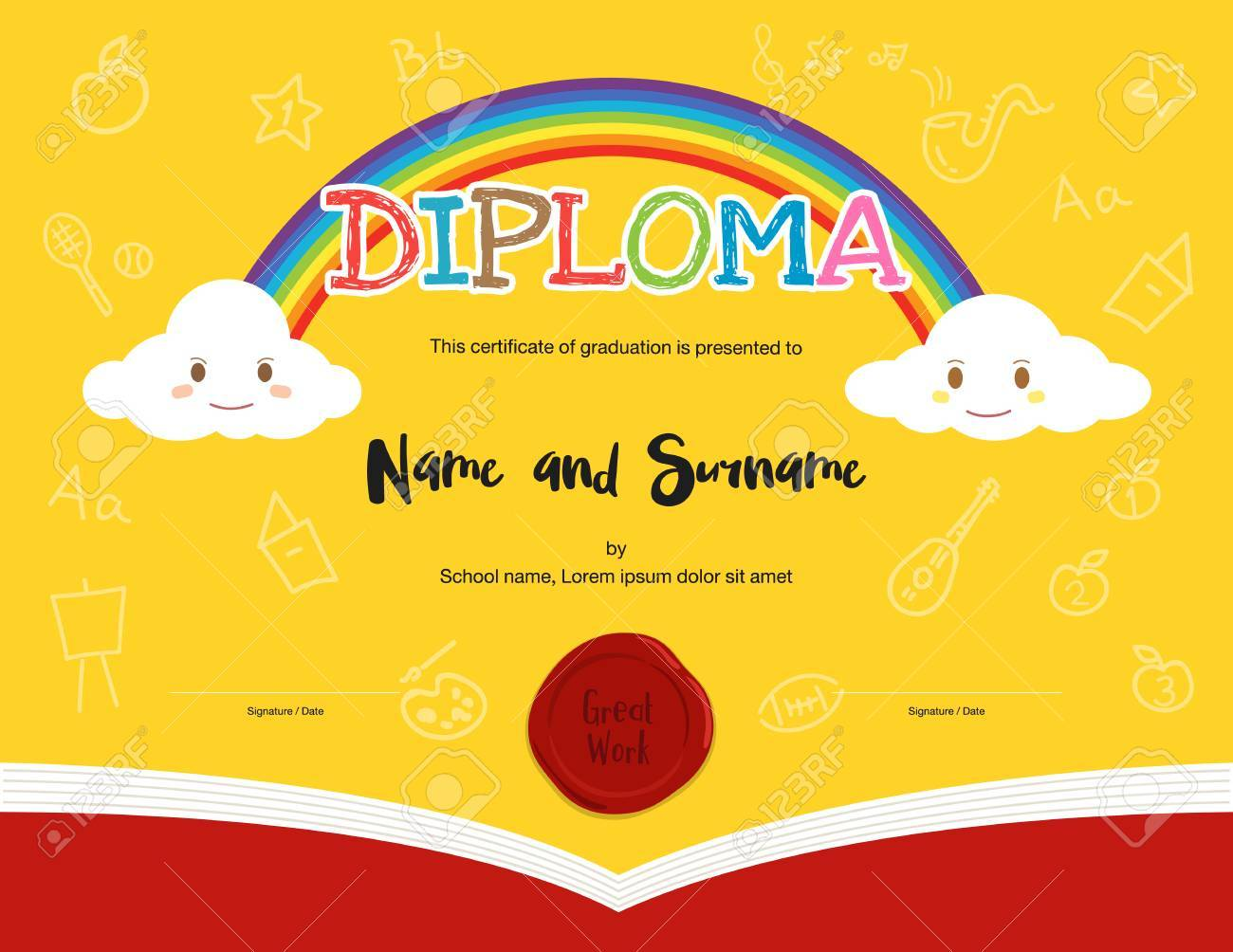 Colorful Kids Diploma Certificate Template In Cartoon Style And ...