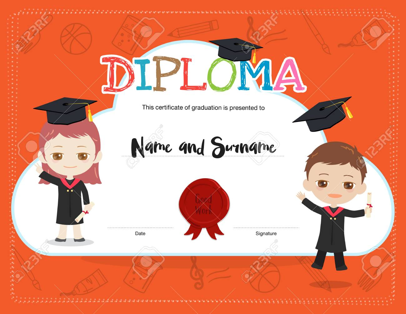 Colorful Kids Diploma Certificate Template In Cartoon Style With ...