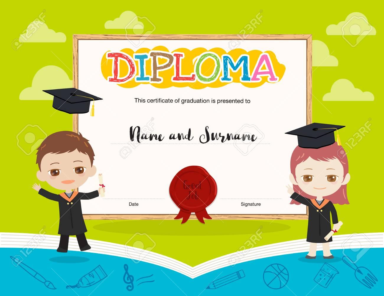 Bunte Kinder Diplom Zertifikat Vorlage Im Cartoon-Stil Und Buch ...