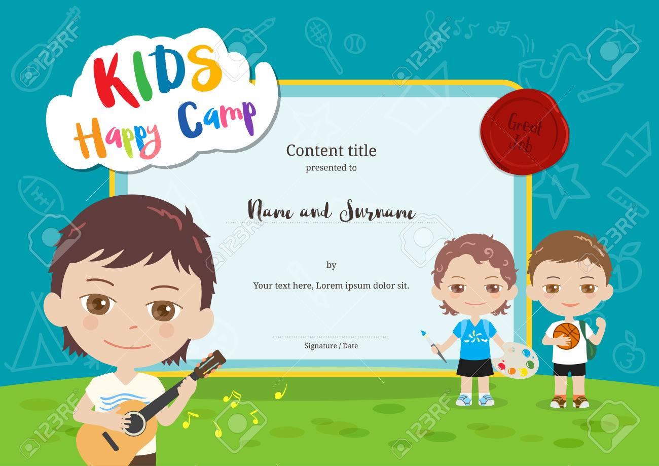 Bunte Kinder Sommercamp Diplom Zertifikat Vorlage Im Cartoon-Stil ...