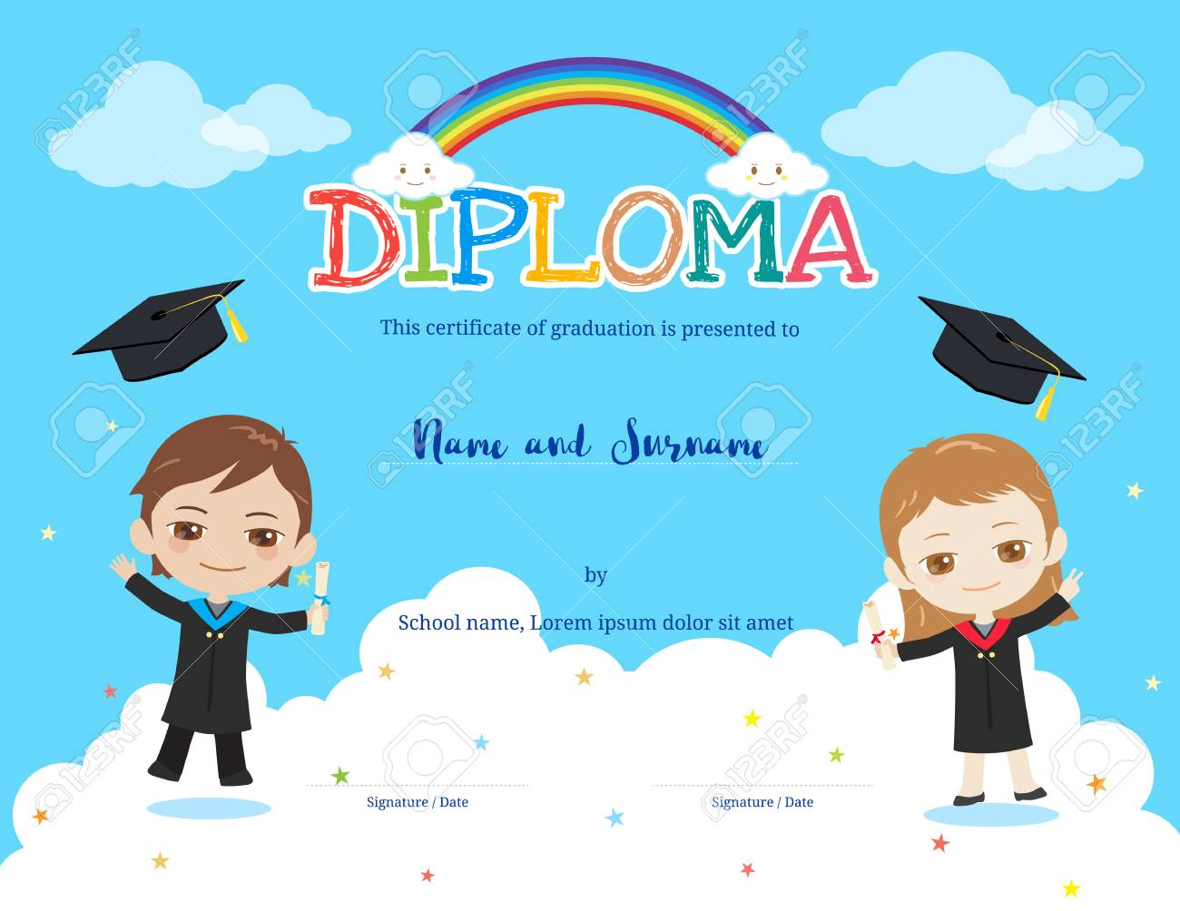 Colorful kids diploma certificate template in cartoon style with colorful kids diploma certificate template in cartoon style with rainbow and sky background boy and yelopaper Image collections