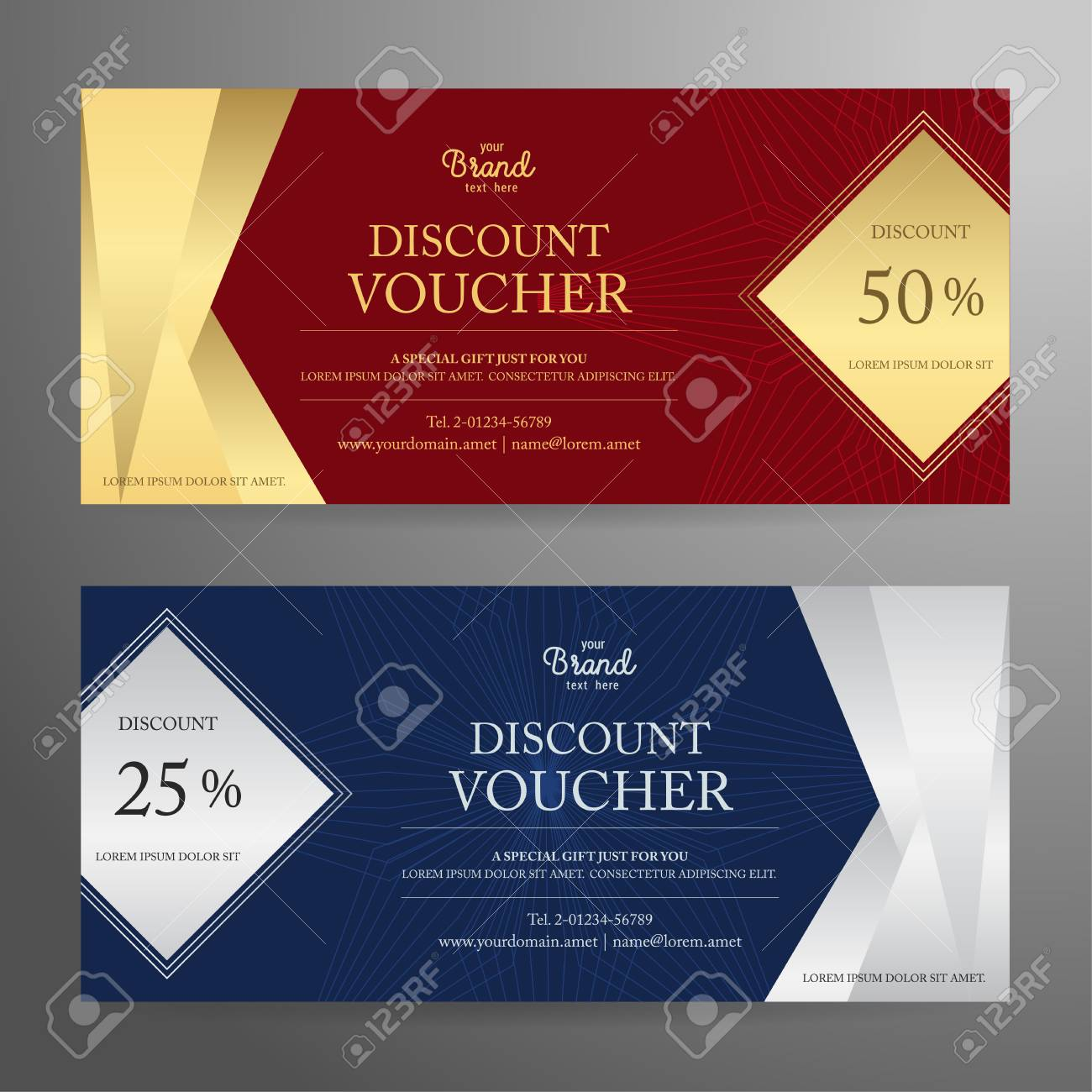Elegant Gift Voucher Or Gift Card Or Coupon Template For Discount ...