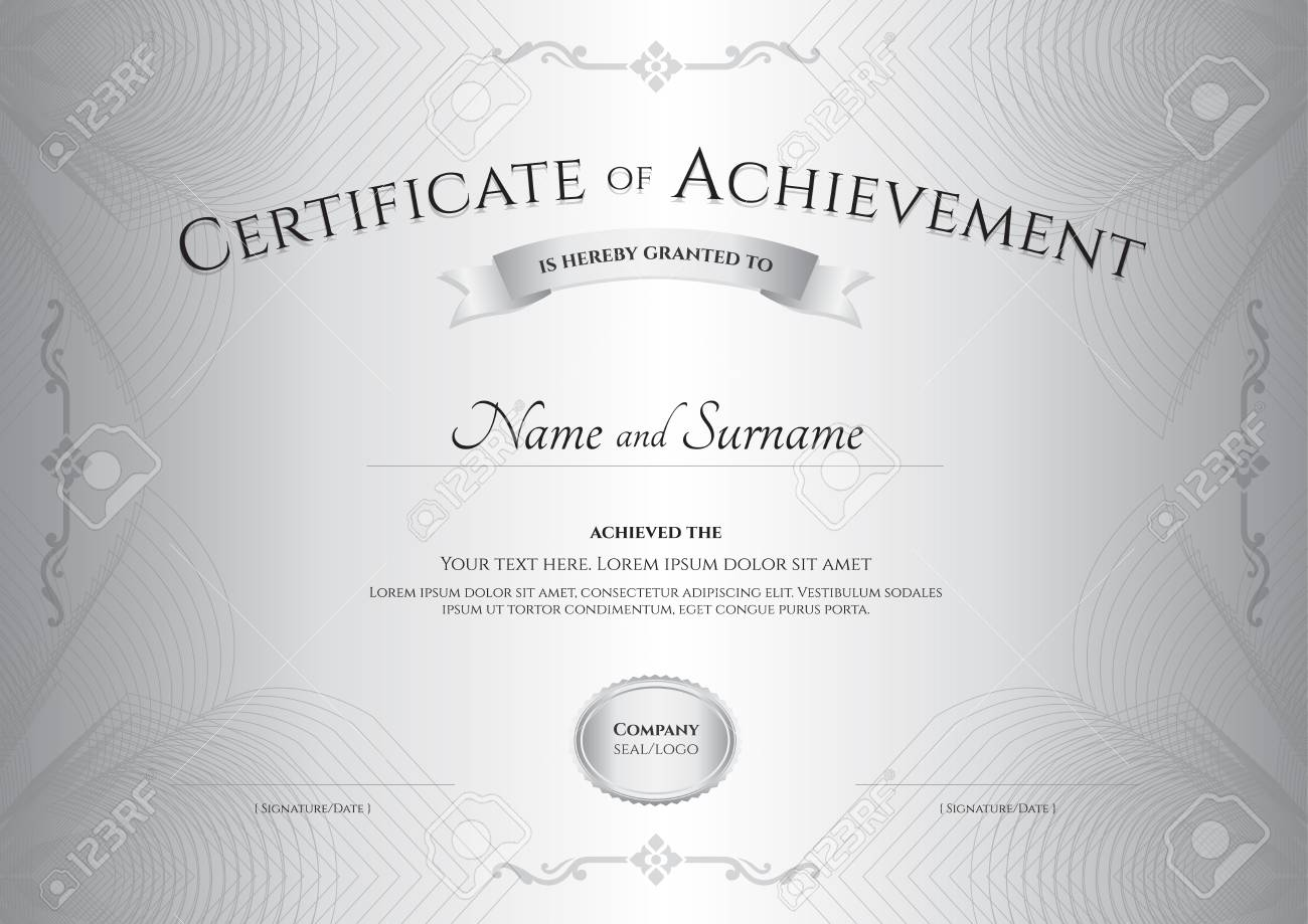 certificate of achievement template with award ribbon on abstract guilloche background with vintage border style stock