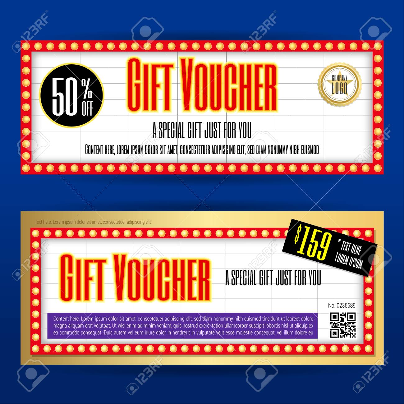 Movie Ticket Sign Theme Gift Voucher Or Gift Coupon Template