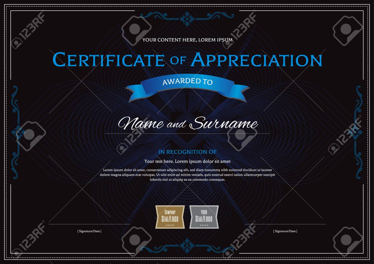 certificate of appreciation template with award ribbon on abstract