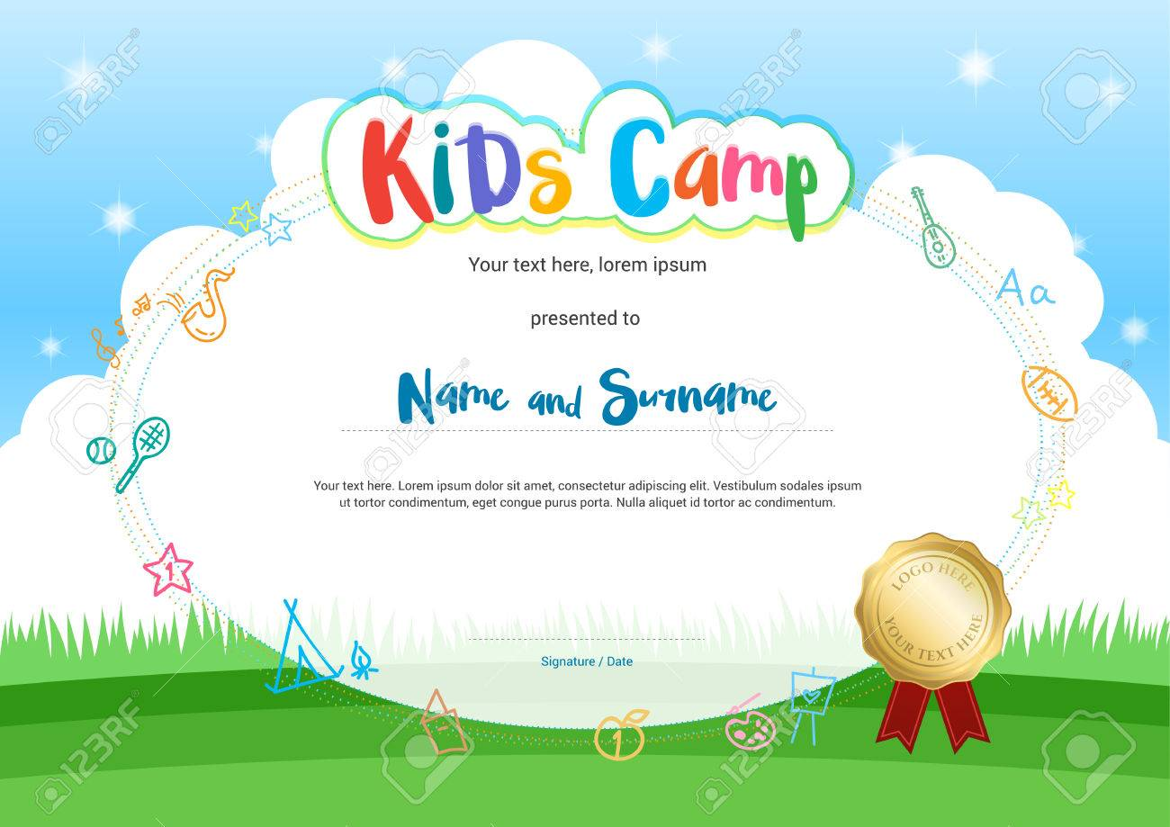 kids summer camp diploma or certificate with cartoon style