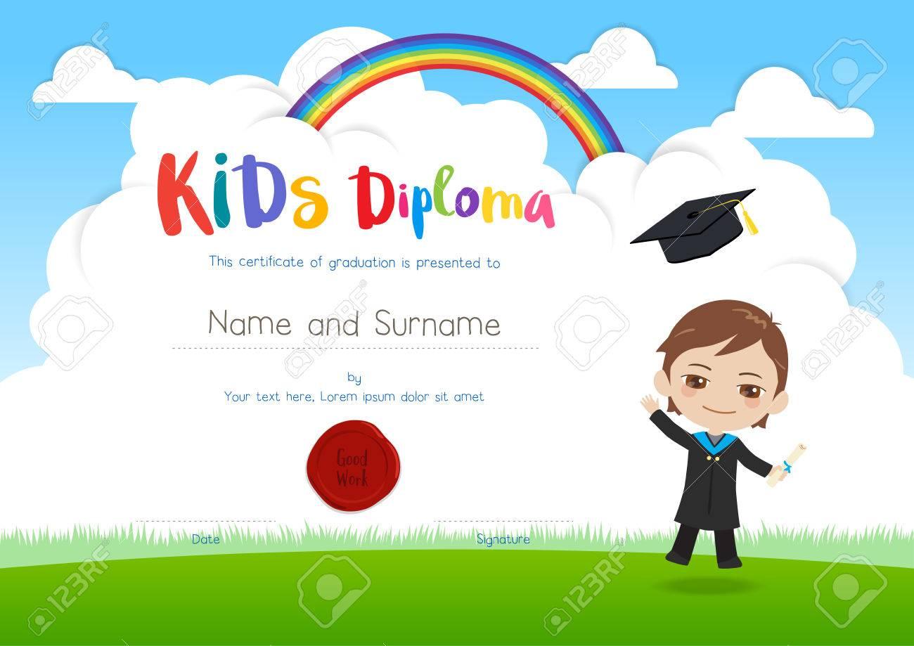 Bunte Kinder Diplom Zertifikat Vorlage Im Cartoon-Stil Mit ...