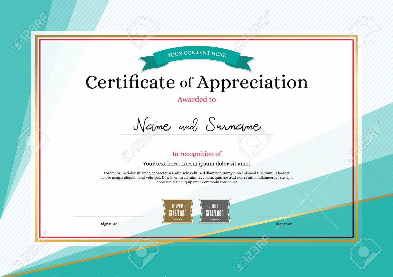 Modern certificate of appreciation template on abstract background modern certificate of appreciation template on abstract background stock vector 80111129 yadclub Image collections
