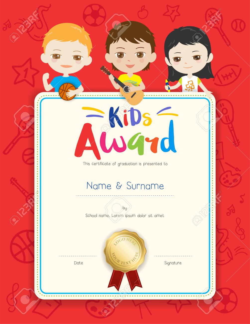 Portrait Colorful Kids Award Diploma Certificate Template In Cartoon Style  With Happy Boy And Girl Stock  Certificate Template For Kids