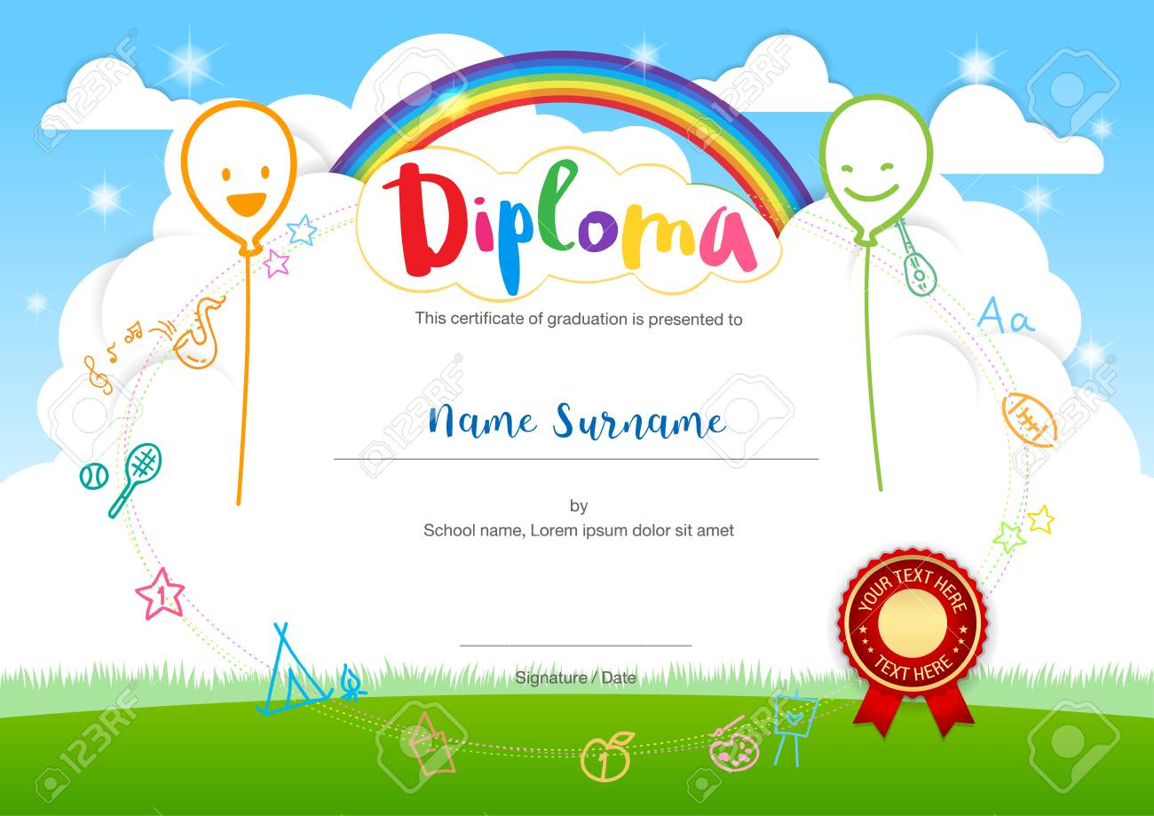 Colorful kids summer camp diploma certificate template in cartoon colorful kids summer camp diploma certificate template in cartoon style with smiling balloon rainbow and sky yelopaper Image collections