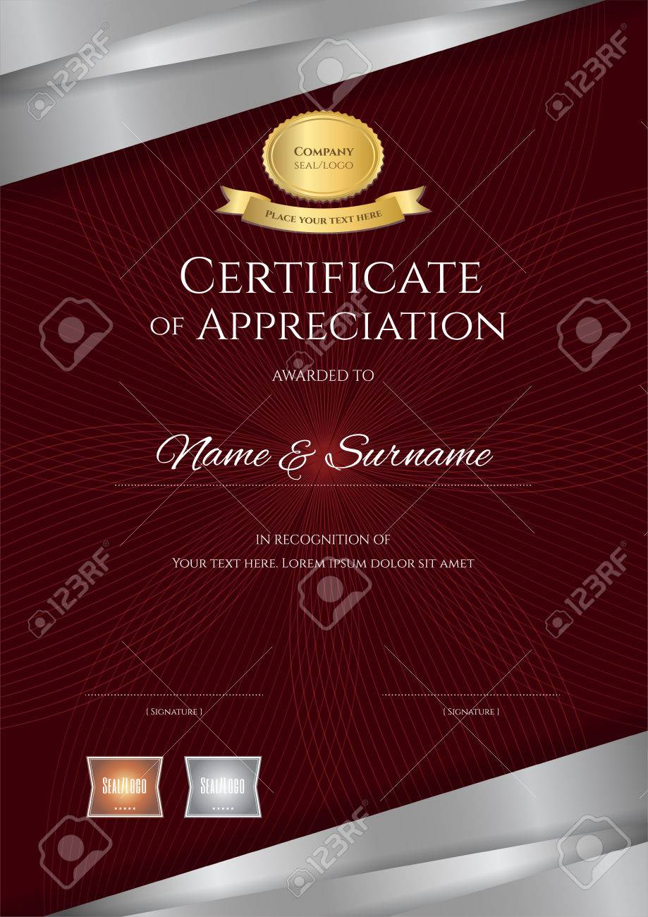 Portrait luxury certificate template with elegant red and silver portrait luxury certificate template with elegant red and silver border frame diploma design for graduation yadclub Images