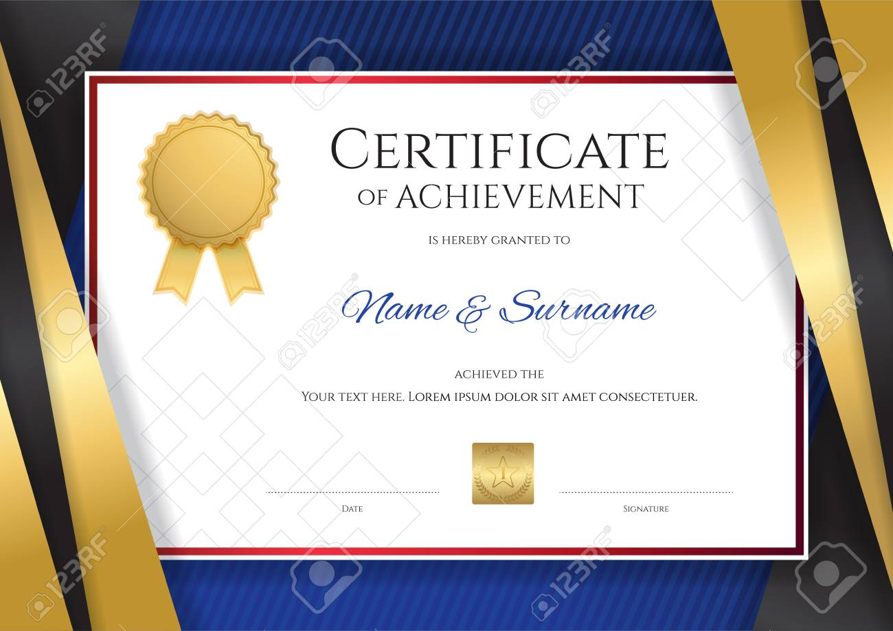 Luxury certificate template with elegant golden border frame luxury certificate template with elegant golden border frame diploma design for graduation or completion stock xflitez Image collections