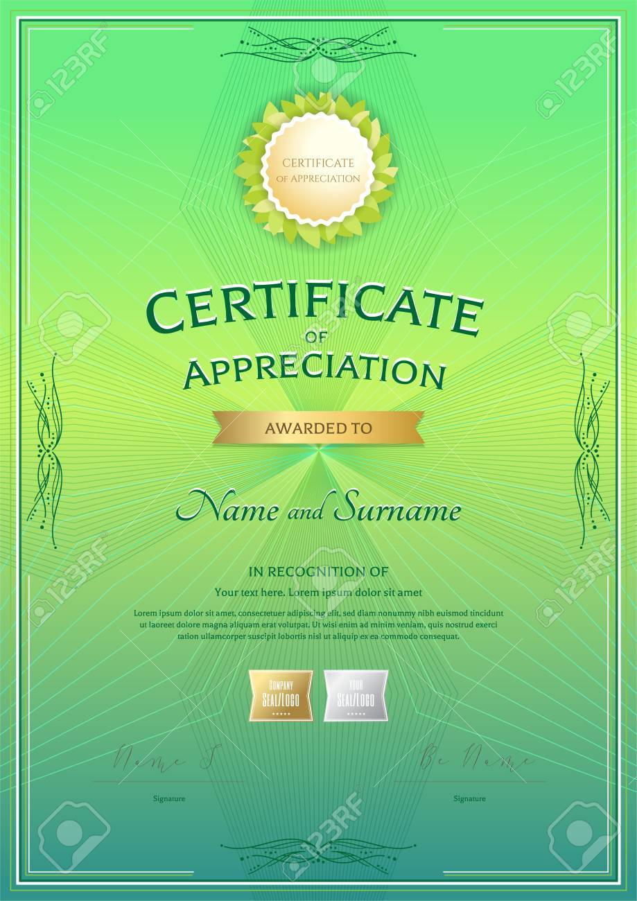 Portrait Certificate Of Appreciation Template With Award Ribbon ...