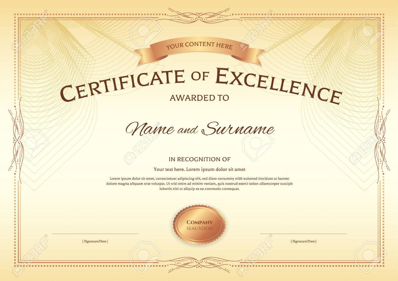 Certificate Of Excellence Template With Award Ribbon On Abstract ...