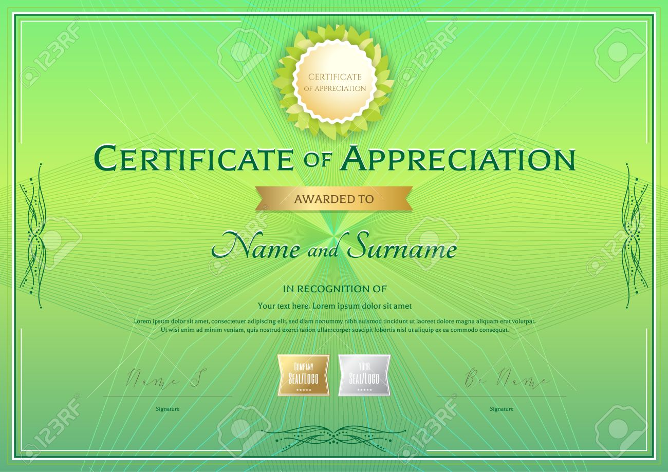 Certificate Of Appreciation Template In Green Environment Theme